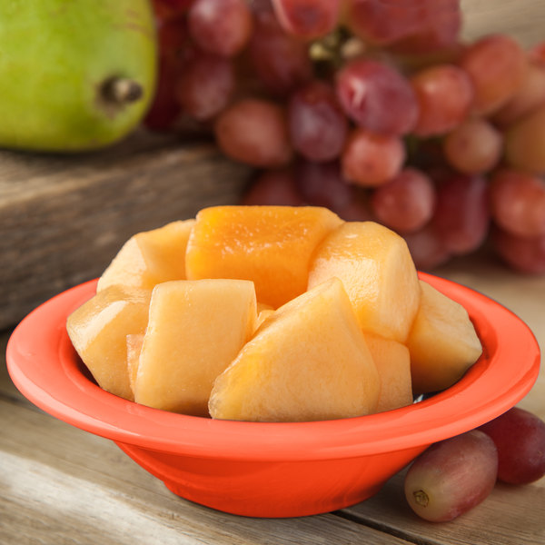 Carlisle 4304252 Durus 4 1/2 oz. Sunset Orange Rimmed Melamine Fruit / Monkey Dish - 48/Case