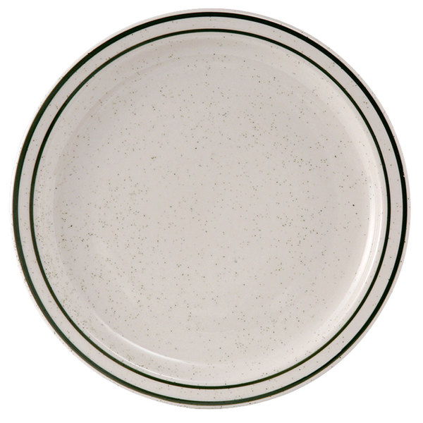 "Tuxton TES-007 Emerald 7 1/4"" Green Speckle Narrow Rim China Plate - 36/Case"