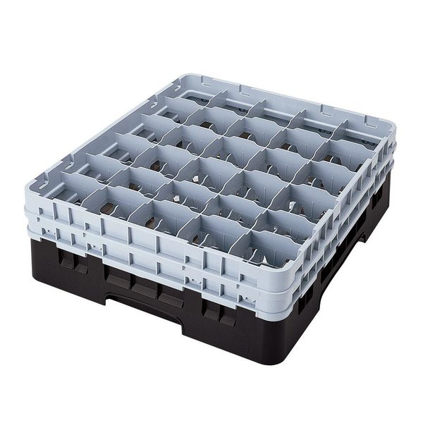 "Cambro 30S1114110 Black Camrack Customizable 30 Compartment 11 3/4"" Glass Rack"