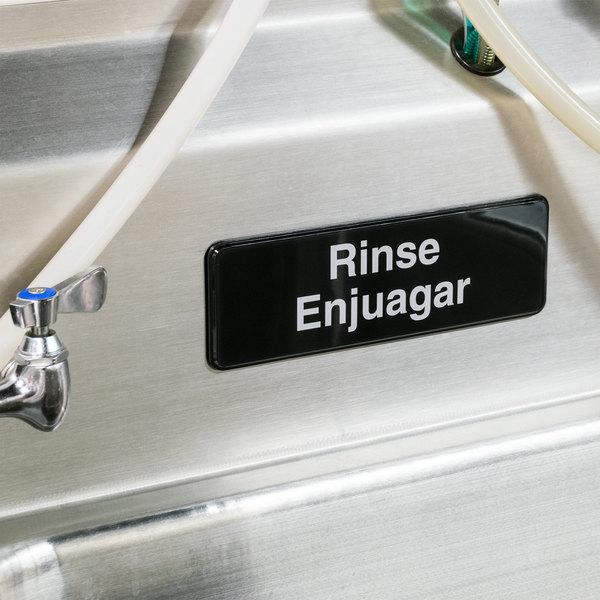 "Tablecraft 394552 Rinse / Enjuagar Sign - Black and White, 9"" x 3"""