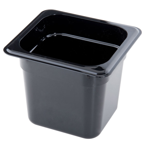 "Cambro 66CW110 Camwear 1/6 Size Black Polycarbonate Food Pan - 6"" Deep Main Image 1"