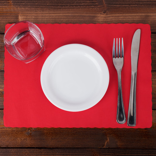 "Hoffmaster 310521 10"" x 14"" Red Colored Paper Placemat with Scalloped Edge - 1000/Case Main Image 2"