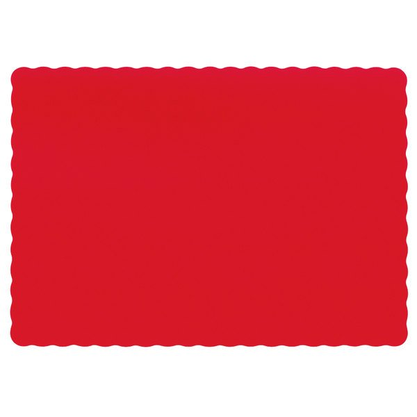Hoffmaster 310521 10 inch x 14 inch Red Colored Paper Placemat with Scalloped Edge - 1000/Case