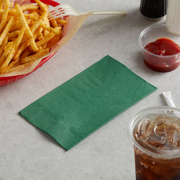 "Choice 15"" x 17"" Customizable Hunter Green 2-PlyPaper Dinner Napkin - 125/Pack Main Image 3"