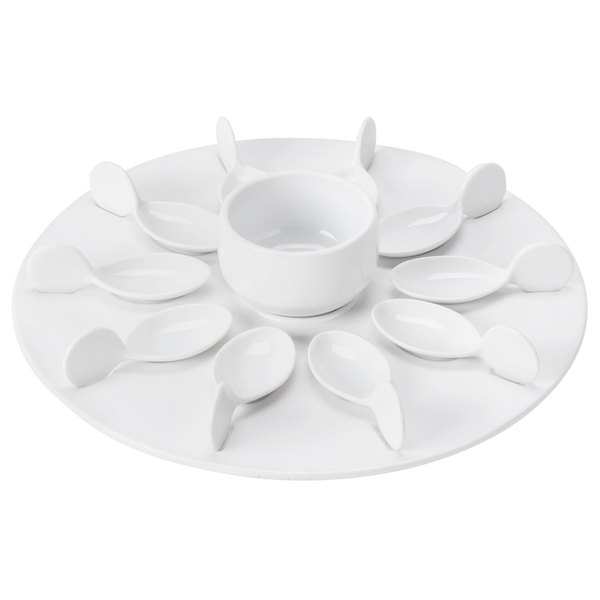 """CAC PTP-21-W Bright White Party Collection Porcelain 10 Spoon Set with 12 1/4"""" Tray and 7 oz. Bowl - 4/Case"""