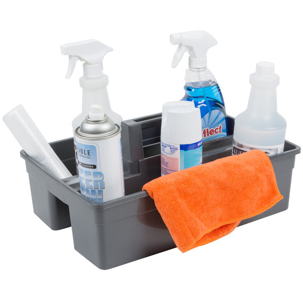 Lavex Janitorial Plastic Cleaning Caddy, 3-Compartment Gray, 16L x 11W