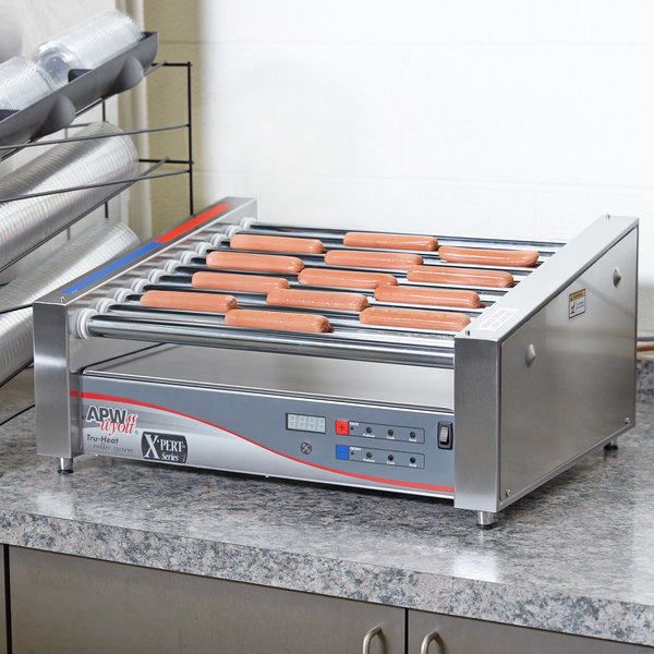"APW Wyott HRSDi-31 120 X*PERT Digital Hotrod 30 Hot Dog Roller Grill 19 1/2"" Slanted Top - 120V"