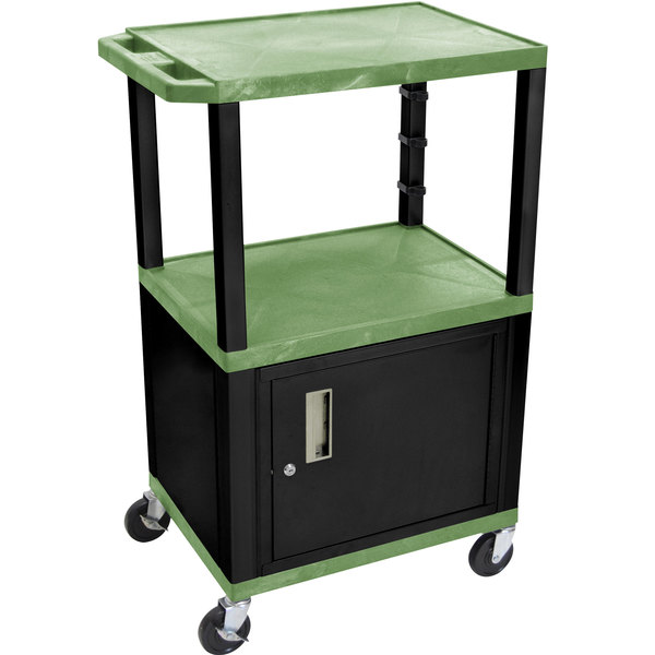 "Luxor WT2642GC2E-B Green Tuffy Two Shelf Adjustable Height A/V Cart with Locking Cabinet - 18"" x 24"""