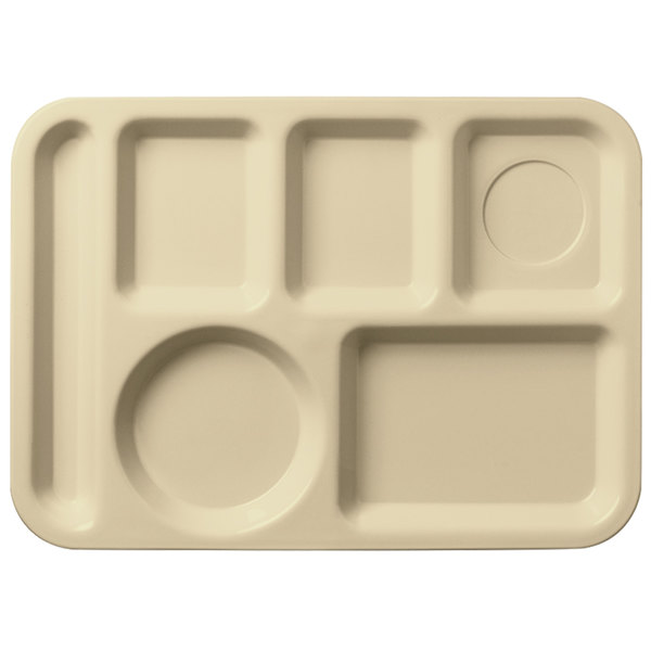 """Carlisle 61425 10"""" x 14"""" Tan ABS Plastic Left Hand 6 Compartment Tray"""