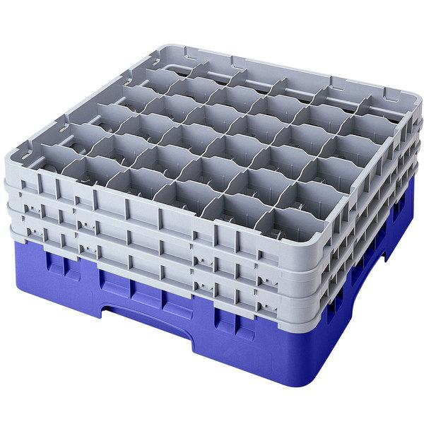 "Cambro 36S958168 Blue Camrack Customizable 36 Compartment 10 1/8"" Glass Rack Main Image 1"