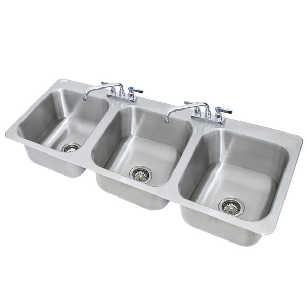 Advance Tabco DI-3-1410 3 Compartment Drop-In Sink - 16\