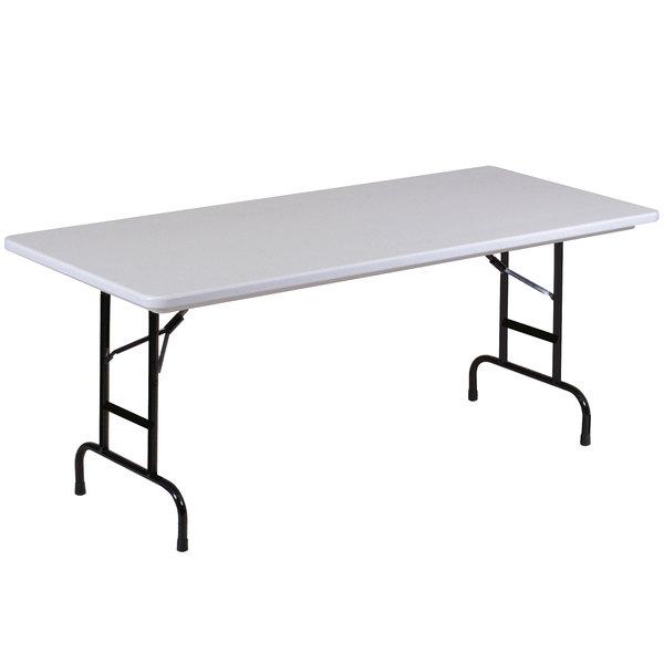 "Correll Adjustable Height Folding Table, 30"" x 96"" Plastic, Granite Gray - R-Series RA3096"