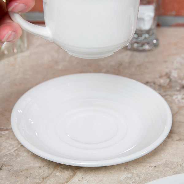 "Tuxton CWE-060 Concentrix 6"" White China Saucer - 24/Case"