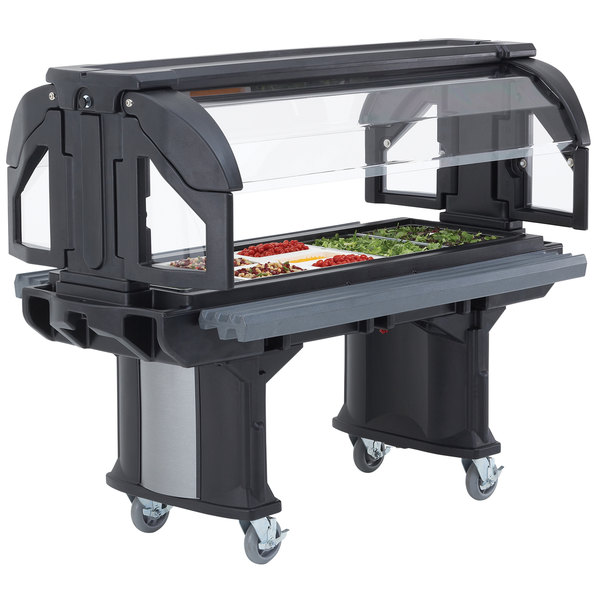 Cambro VBRL6110 Black 6' Versa Food / Salad Bar with Standard Casters - Low Height