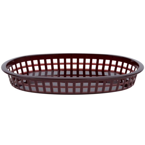 10 3/4 inch x 7 inch x 1 1/2 inch Brown Oval Plastic Fast Food Basket - 12/Pack