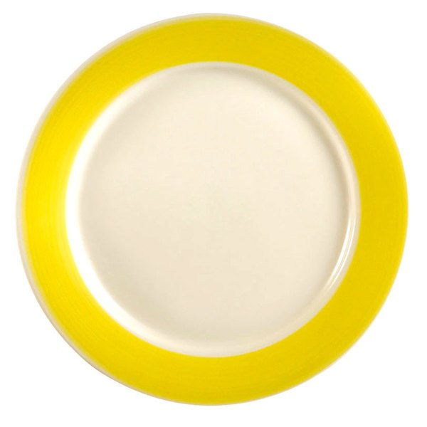 """CAC R-16 YWL Rainbow 10 1/2"""" Yellow Dinner Plate - 12/Case"""