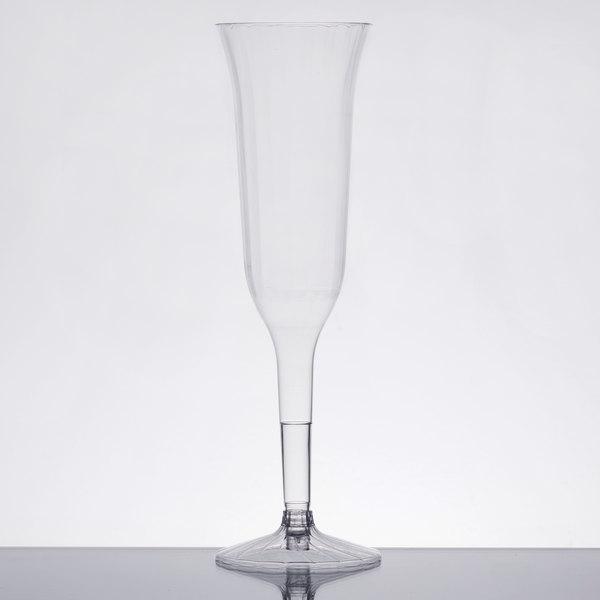 WNA Comet CCC5120 Classicware 5 oz. 2-Piece Clear Plastic Champagne Flute  - 10/Pack