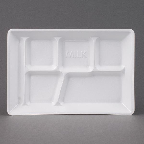 Genpak 10600W 12 1/2 inch x 8 1/2 inch x 1 1/8 inch 6 Compartment White Foam School Tray - 500/Case