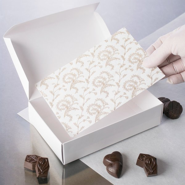 """7 1/8"""" x 4 1/2"""" 3-Ply Glassine 1 1/2 lb. White Candy Box Pad with Gold Floral Pattern - 250/Case Main Image 3"""