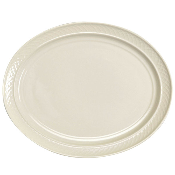 """Homer Laughlin 3527000 Gothic 11 1/2"""" x 8 3/8"""" Ivory (American White) Undecorated Oval China Platter - 12/Case"""