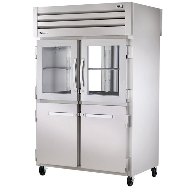 True STG2RPT-2HG/2HS-2G-HC Specification Series 52 5/8 inch Half Glass / Solid Front, Glass Back Door Pass-Through Refrigerator