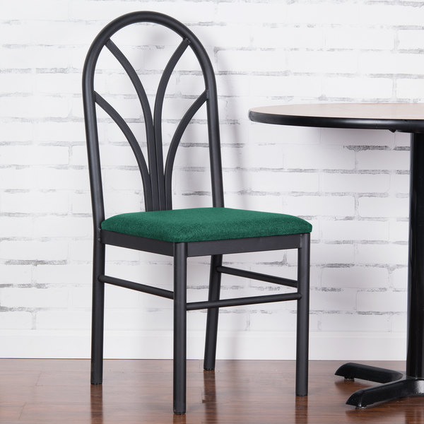 "Lancaster Table & Seating Green 4 Spoke Restaurant Dining Room Chair with 1 3/4"" Padded Seat"