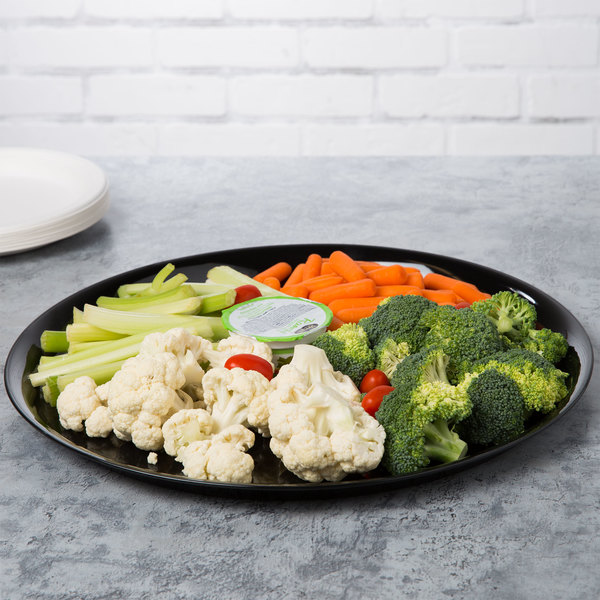 "WNA Comet A916BL Checkmate 16"" Black Round Catering Tray - 5/Pack"