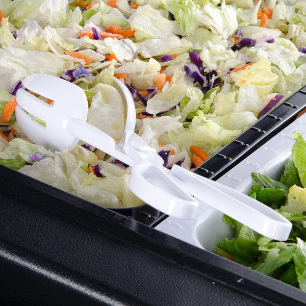 Fineline Platter Pleasers 3304-WH White Plastic Salad Tongs - 48/Case