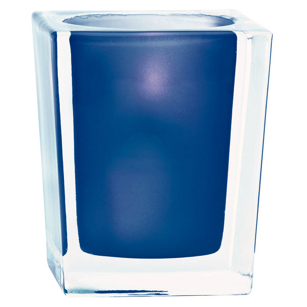 "Sterno Products 80234 3 3/4"" Blue and Clear Square Liquid Candle Holder"