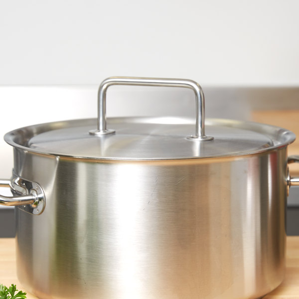 """Vollrath 47775 Intrigue 11 13/16"""" Stainless Steel Cover with Loop Handle"""