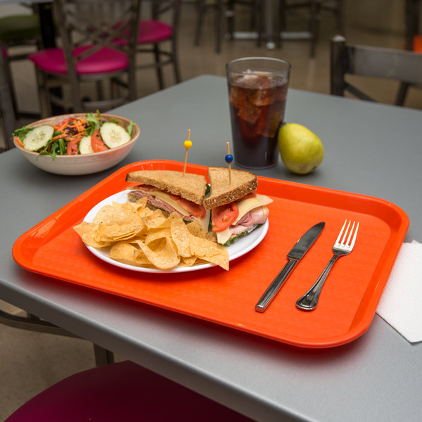 "Carlisle CT141824 Customizable Cafe 14"" x 18"" Orange Standard Plastic Fast Food Tray - 12/Case"