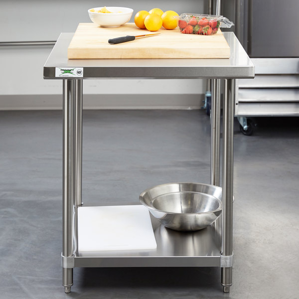 Regency X Gauge Stainless Steel Commercial Work Table - Stainless steel work table with drawers