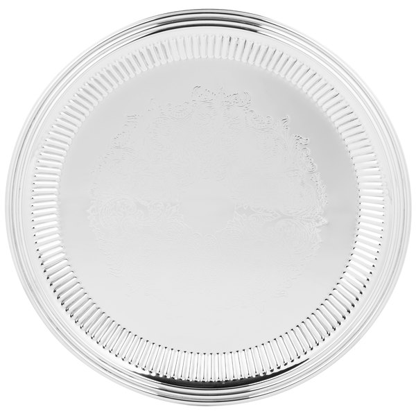 """Vollrath 82170 Esquire 16"""" Round Fluted Stainless Steel Tray"""