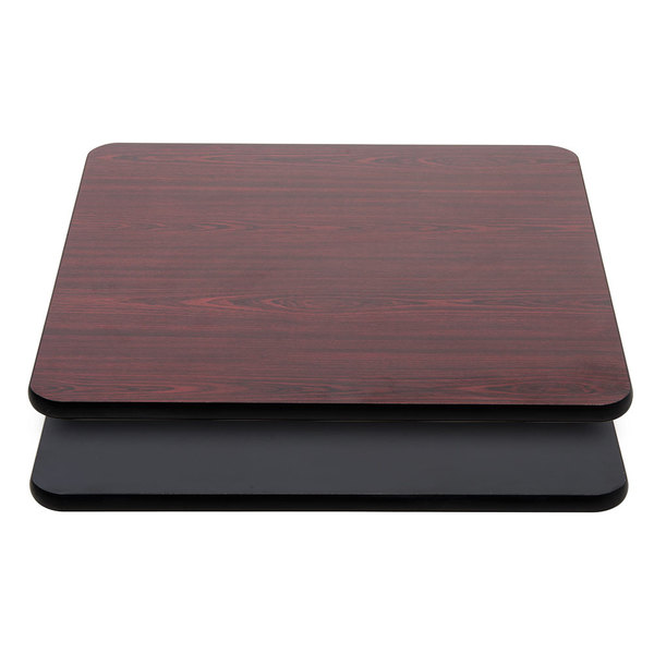 Lancaster Table & Seating 36 inch x 36 inch Laminated Square Table Top Reversible Cherry / Black