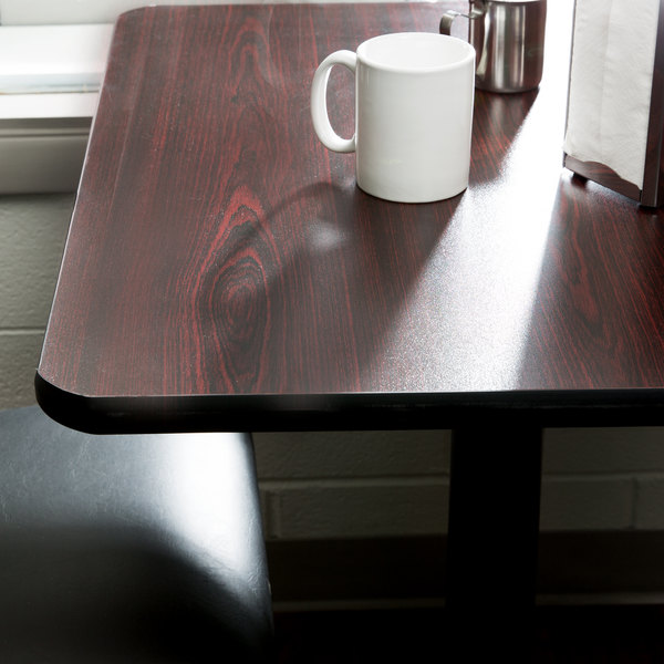 "Lancaster Table & Seating 36"" x 36"" Laminated Square Table Top Reversible Cherry / Black"
