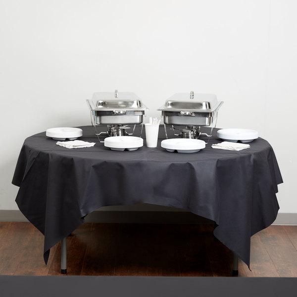 "Hoffmaster 210435 82"" x 82"" Linen-Like Black Table Cover - 12/Case"