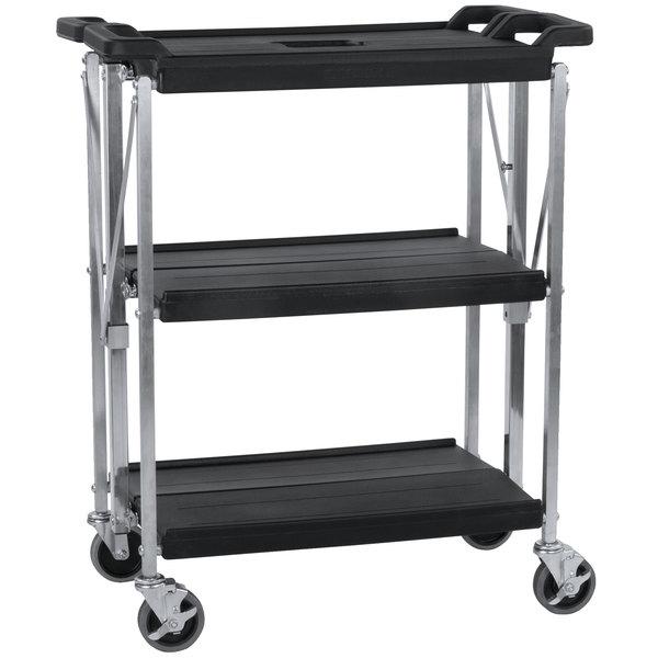 """Carlisle SBC152103 Fold 'N Go 15"""" x 21"""" Black Folding Utility Cart Main Image 1"""
