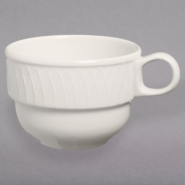 Homer Laughlin 3147000 Gothic 7.5 oz. Ivory (American White) Undecorated Stackable China Cup - 36/Case