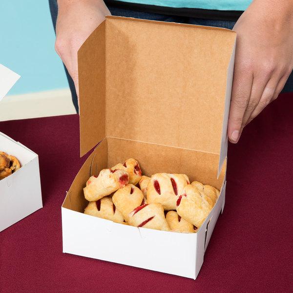 """Southern Champion 0901 6"""" x 6"""" x 2 1/2"""" White Pie / Bakery Box - 250/Bundle"""