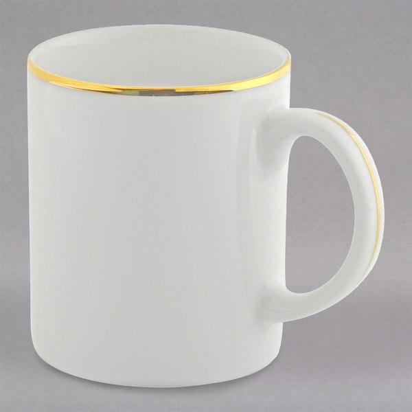 10 Strawberry Street GL0028 10 oz. Gold Line C-Handle Mug - 24/Case