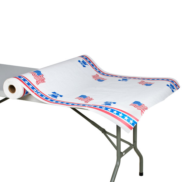 """40"""" x 300' Paper Table Cover with Patriotic Pattern"""