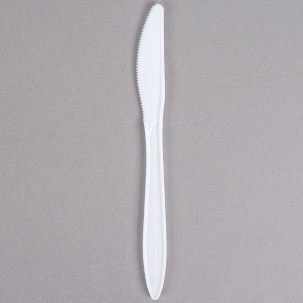 Choice Medium Weight White Plastic Knife - 1000/Case