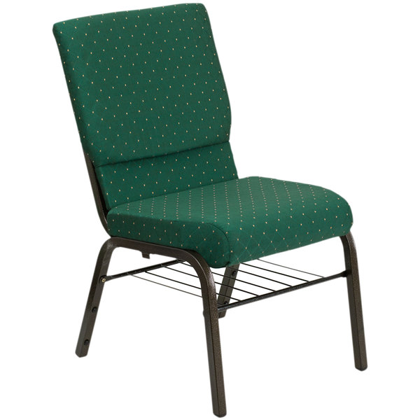 "Flash Furniture XU-CH-60096-GN-BAS-GG Green Dot Patterned 18 1/2"" Wide Church Chair with Communion Cup Book Rack - Gold Vein Frame"