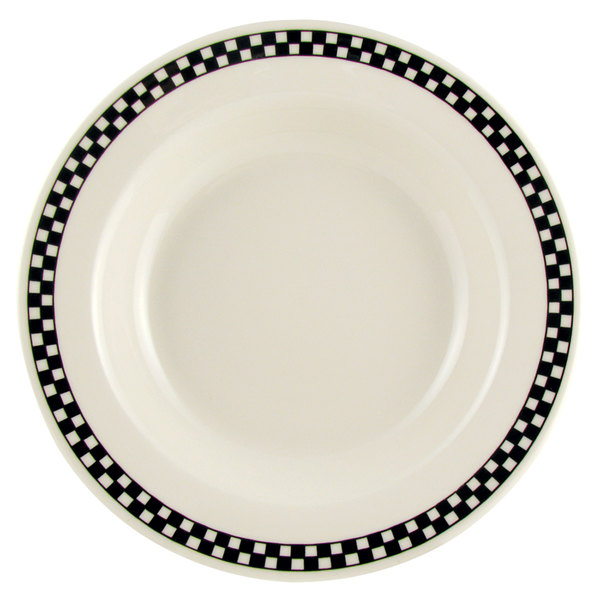 Homer Laughlin Black Checkers 12.75 oz. Wide Rim Creamy White / Off ...