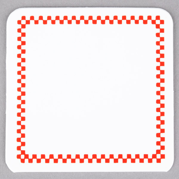 Square Write On Deli Tag with Red Checkered Border