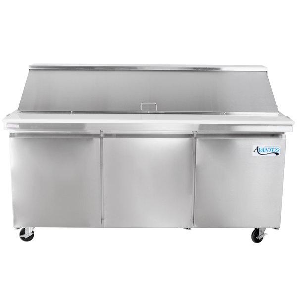 """Avantco SCLM3 70"""" 3 Door Mega Top Refrigerated Sandwich Prep Table"""