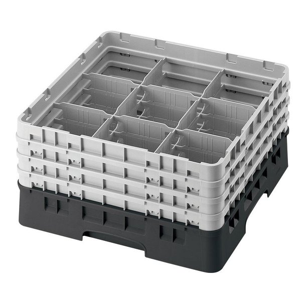"Cambro 9S434110 Black Camrack Customizable 9 Compartment 5 1/4"" Glass Rack"