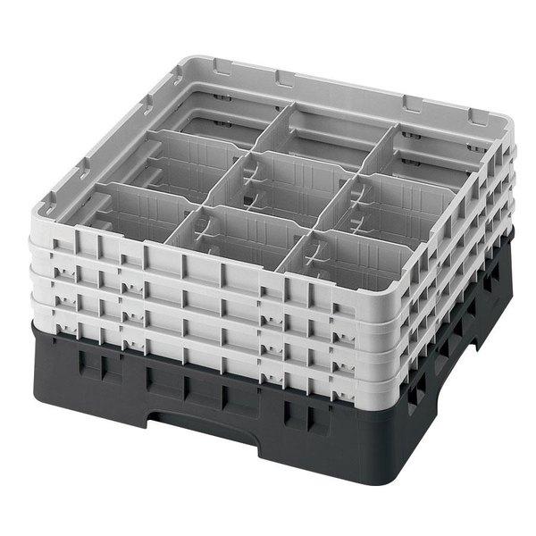 "Cambro 9S434110 Black Camrack Customizable 9 Compartment 5 1/4"" Glass Rack Main Image 1"