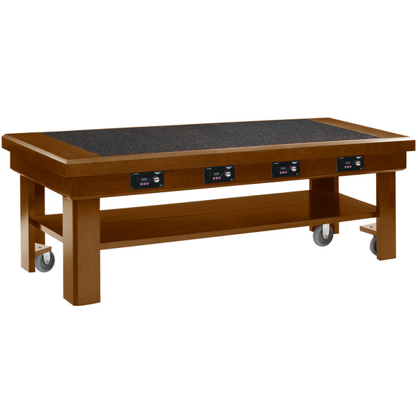 """Vollrath 7552383 76"""" Oak Induction Buffet Table with 4 Warmers - 120V"""