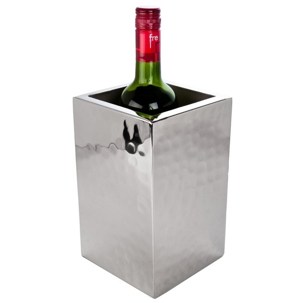 American Metalcraft DWWC1 Square Double Wall Hammered Stainless Steel One-Bottle Chiller
